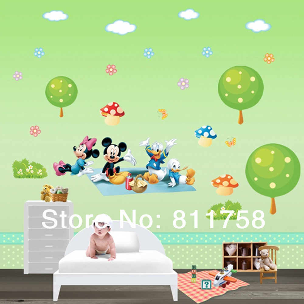 3d mickey mouse wall stickers for kids room removable baby hot removable stars wall sticker pvc decals for nursery