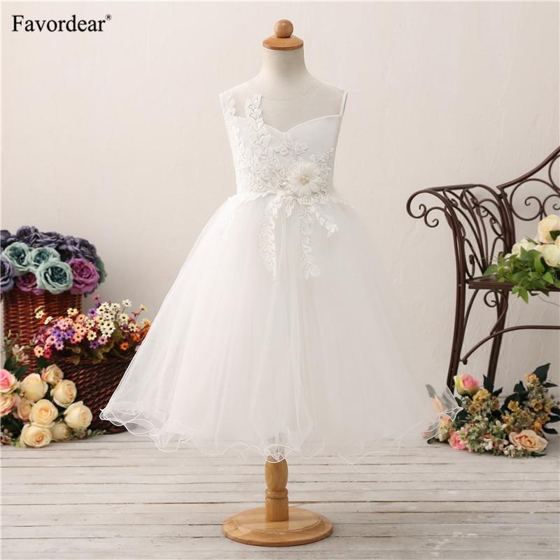 Favordear Princess Short   Flower     Girl     Dress   Ivory   Flower   Waist Ruffle Kids Pageant   Dress   Vestido De Daminha