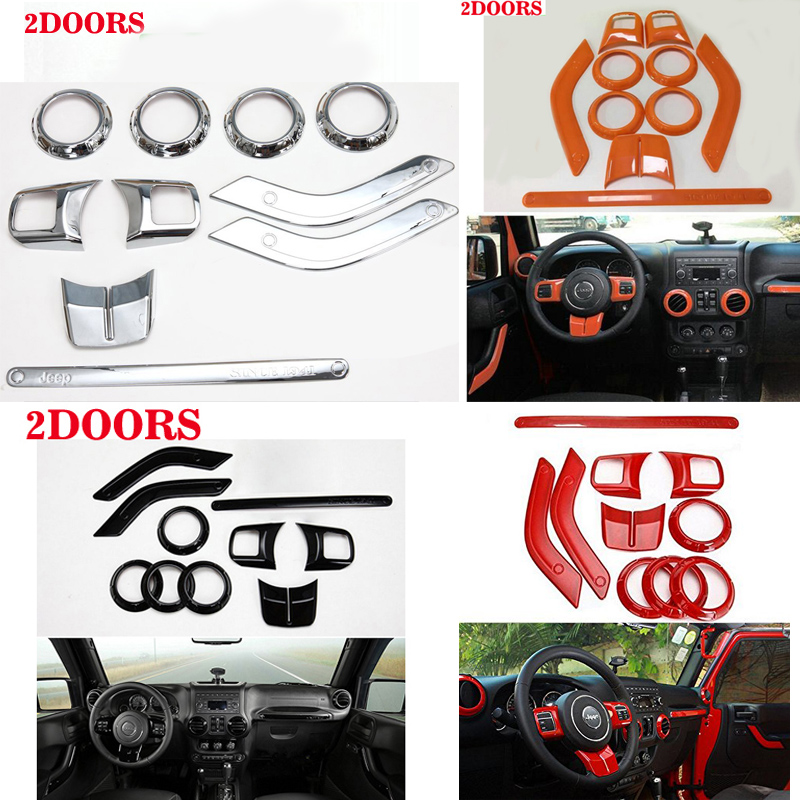 2 doors /Lot Steering Wheel Trim Air Condition Vent Interior Accessories Door Handle Cover Kits ABS Chrome For Jeep Wrangler JK interior accessories steering wheel wiper turn signals pull rod operating lever cover sticker for jeep patriot compass wrangler