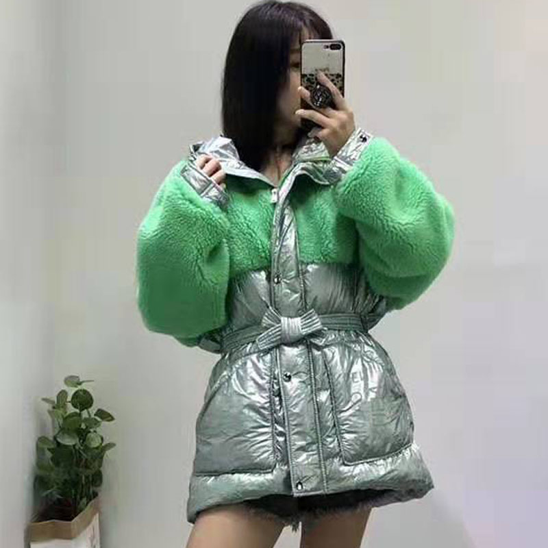 womens   coats   winter 90% white duck   down   jacket slim clothing patchwork sheep fur   coat   hooded thick warm parka waist wool blends