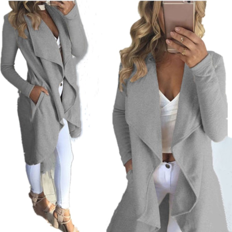 Bigsweety Autumn Casual Long Sleeve Solid Colors Lapel Cardigan   Trench   Irregular Hem Long Women Open Stitch   Trench   Coats