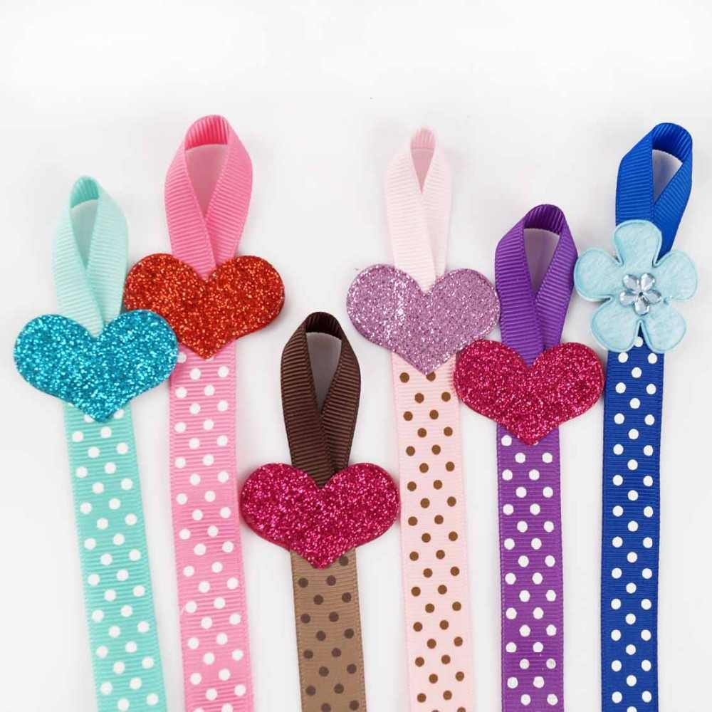 2pcs Lovely Children Polka Dots Hair Bows Holders Long Hair Clip Organizer Hair Bow Storage Glitter Heart-shaped For Girls