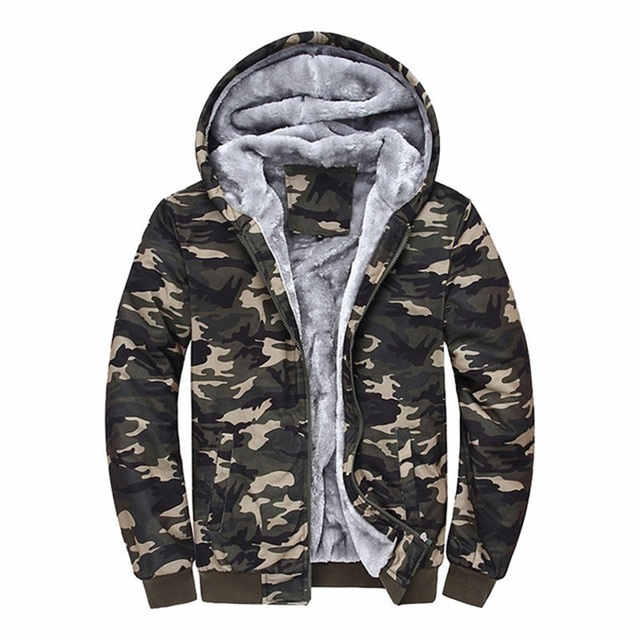 Camouflage Fleece Hoodie Outwear 2 Pieces Set 3