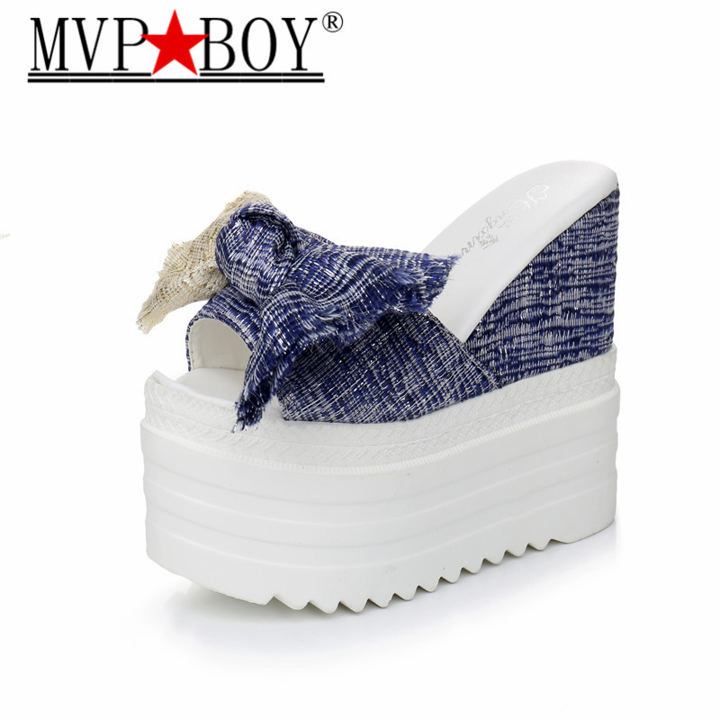 MVP BOY New Korean female slippers student muffin thick-soled Women fashion bow super high with 12 cm black