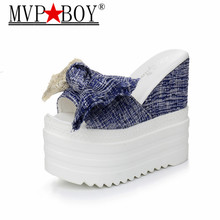 MVP BOY New Korean female slippers student muffin thick-soled slippers Women fashion bow super high with 12 cm slippers black цена