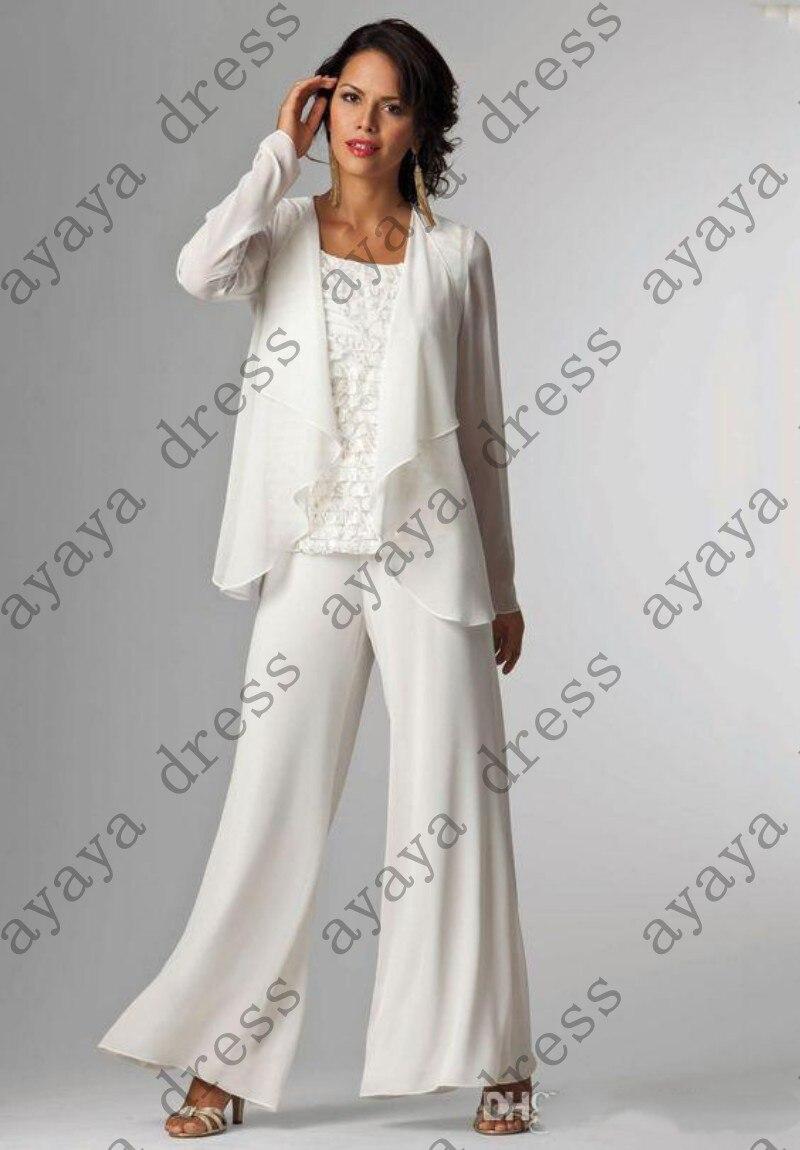 Elegant wedding pant suits - Elegant Long White Wedding Pant Suits For Bride 2017 Chiffon Long Mother Bride Formal Pant Suits