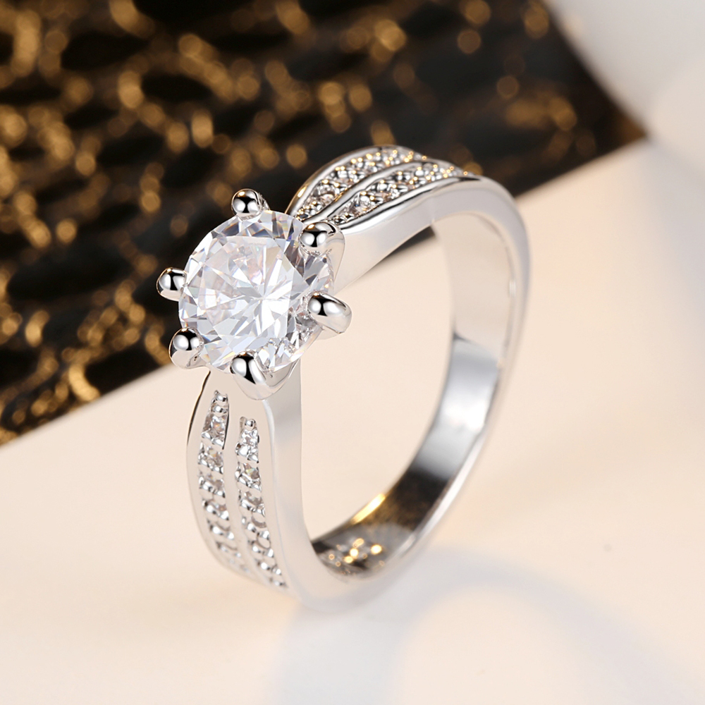 Stainless Steel Gold Tone Round Clear Cubic Zirconia Solitaire Ring Size 6-8