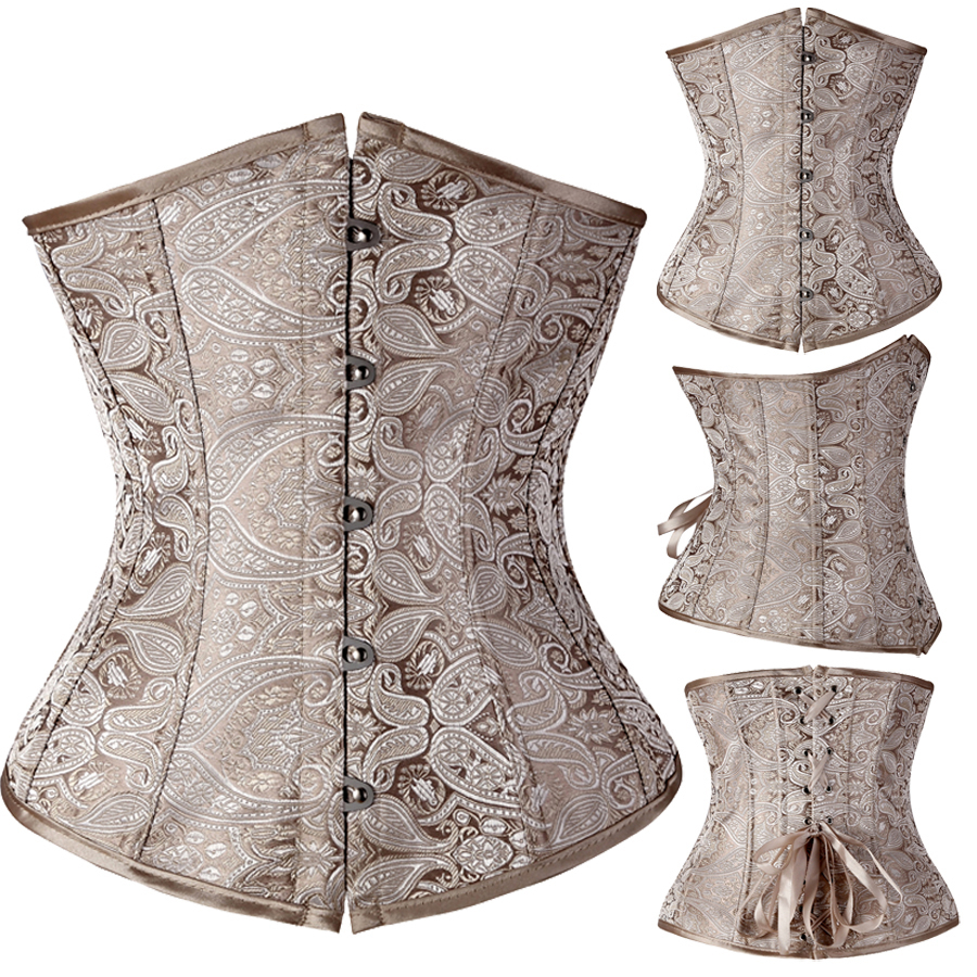 Women Gothic Bustier Corset Size Up To XXL Underbust Lace Up Back Corselet Print Corsets Bustiers Gothic Wedding Dress Lingerie