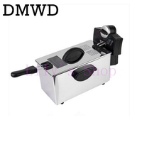 DMWD Electric Deep Fryer Stainless Steel Commercial Electric Fryer Household Chips Frying Pan French Fries Making