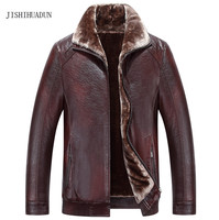 Russia Winter Leather Jacket Men Fur Collar Thicken High Quality Faux Leather Jackets Coats Black Brown