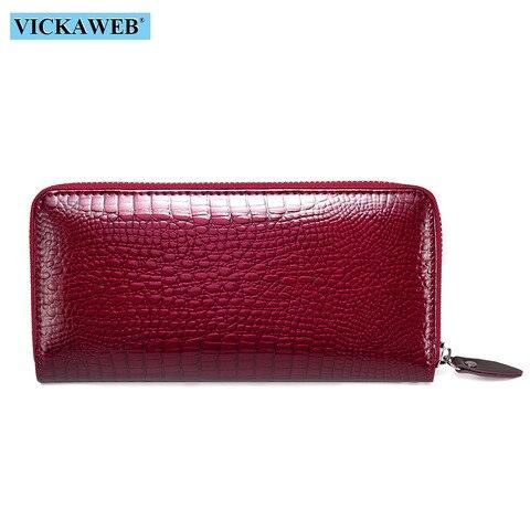 VICKAWEB Wristlet Wallet Purse Genuine Leather Wallet Female Long Zipper Women Wallets Card Holder Clutch Ladies Wallets AE38 Lahore