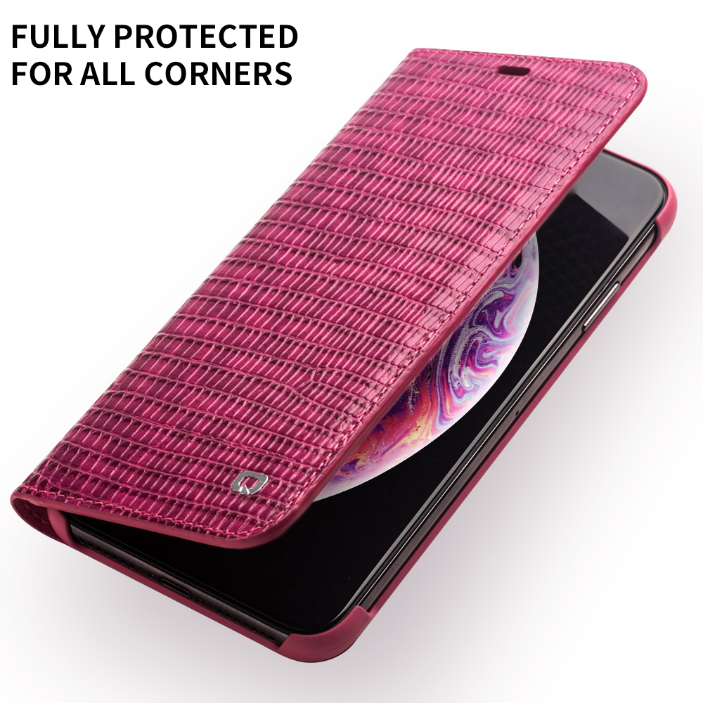 Image 4 - QIALINO Genuine Leather Phone Case for iPhone X/XS/XR Fashion  Luxury Handmade Women Bag Card Slot Flip Cover for iPhone XS MaxFlip  Cases