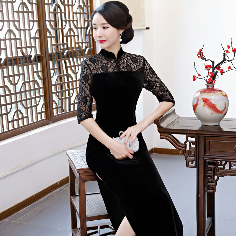 5ea06b9b68b Women Satin Cheongsam Traditional Chinese Dresses Lace Evening Party Qipao  Dress for Lady Design Vintage Flower