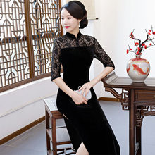 017d0018b Women Satin Cheongsam Traditional Chinese Dresses Lace Evening Party Qipao  Dress for Lady Design Vintage Flower Tang Suit Retro