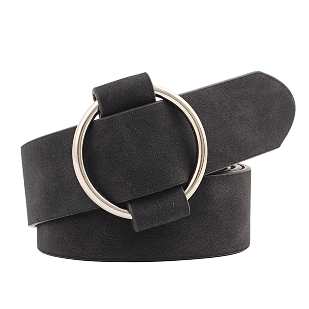 2018 Womens Fashion Designer Round Metal Buckle   Belts   For Jeans Casual Modeling   Belts   Without Needle Leather   Belt   Cinturon Mujer