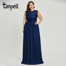 Tanpell plus size a line prom dresses dark royal blue sleeveless floor length dress women lace appliques formal long gown