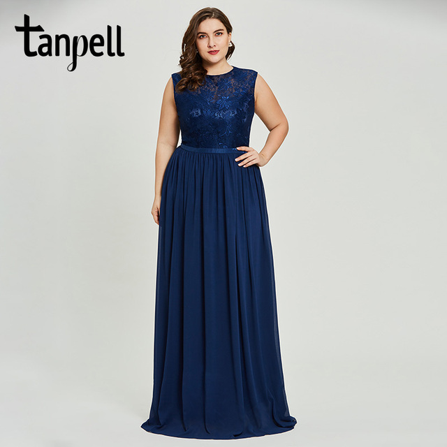 Tanpell plus size a line prom dresses dark royal blue sleeveless floor length dress women lace appliques formal long prom gown