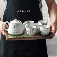 2018 Japanese cherry Japanese style tea set ceramic small teapot with filter restaurant home gift box cup set