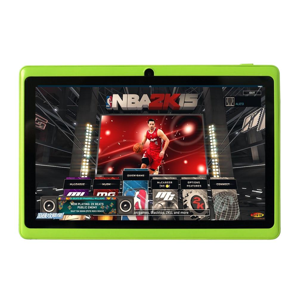 Livraison gratuite Yuntab 7 A33 Quad Core 1.5 GHz cinq Couleurs Q88 7 pouce Tablet PC 1024x600 Double Caméra 2500 mAh 8 GB