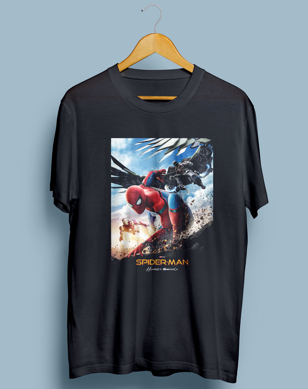 Spiderman Homecoming Movie Poster Mens Gildan Black T-Shirt S-XXL