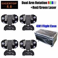 Gigertop TP L683 12x10 Вт RGBW Dual Arm бесконечное вращение мини moving Head светло красный зеленый Laer 17/20 DMX Каналы Супер луча