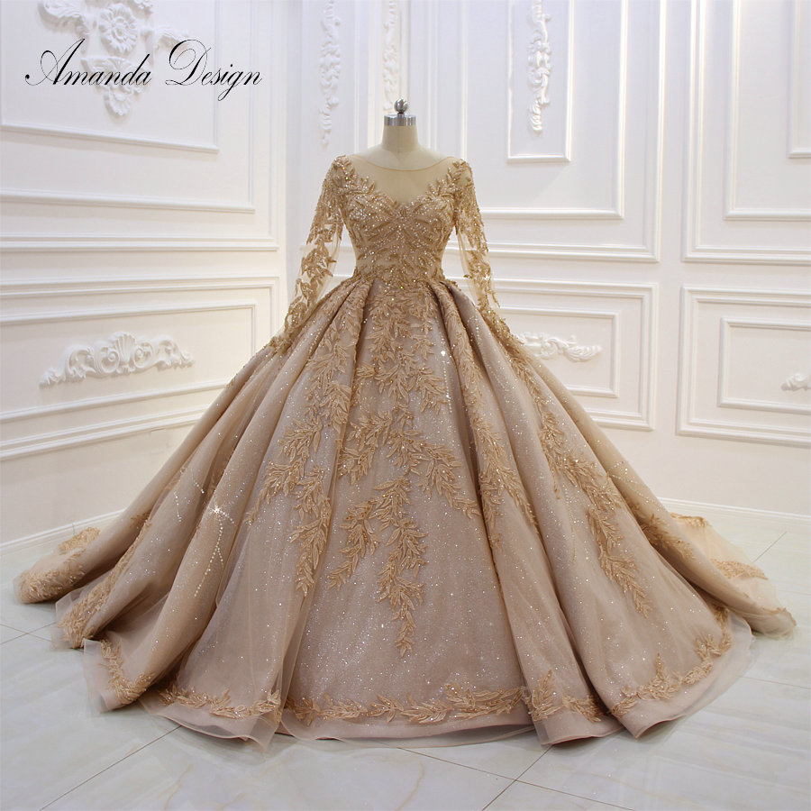 Amanda Design robe de mariee courte Luxury Long Sleeve Puffy Ball Gown Crystal Shiny Wedding Dress