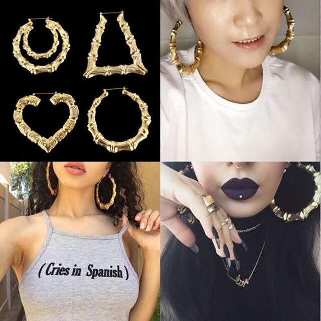 Large Bamboo Hoop Earrings For Women Hip Hop Gold Silver Star Heart Circle Hoops Earring