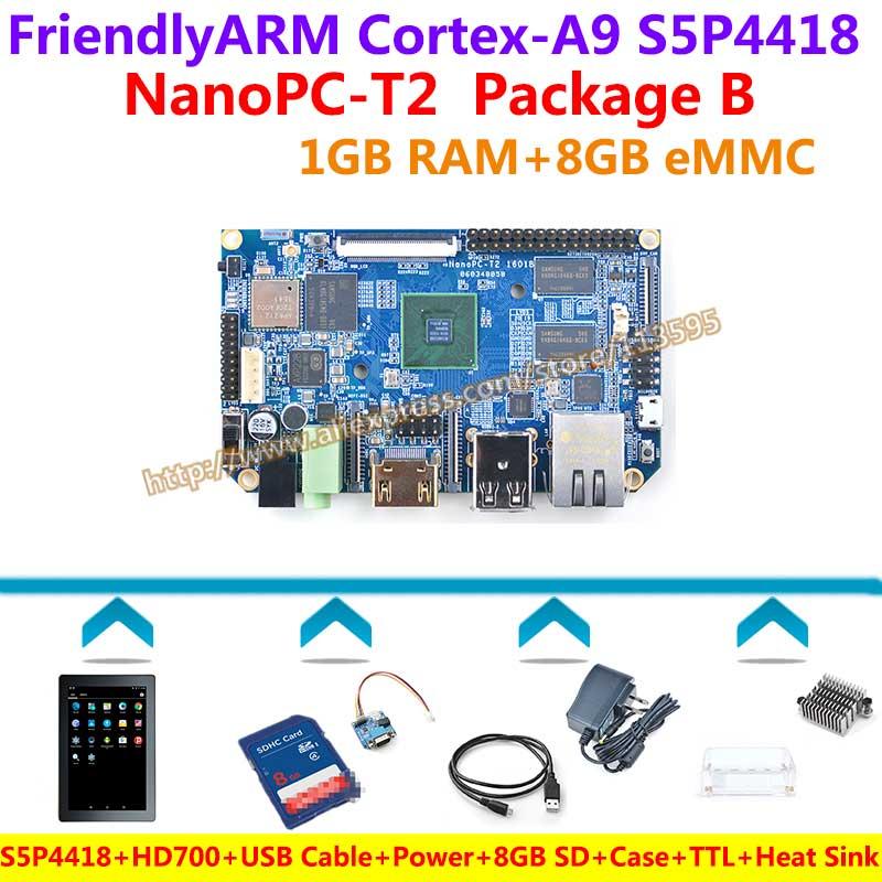 S5P4418 Quad Core Cortex-A9 NanoPC-T2 Panneau de BRAS + HD702 + Câble USB + TTL + Alimentation + radiateur + Boitier + SD 8 GO + Lecteur de Carte = NanoPC T2 Paquet B