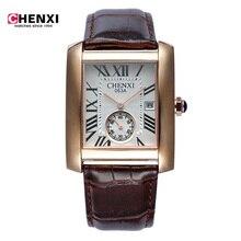 Top Luxury Brand Recdangle Hombres Deportes Relojes del Cuarzo de Los Hombres Fecha Reloj Hombre Militar Del Ejército Del Reloj Del Relogio masculino de Cuero