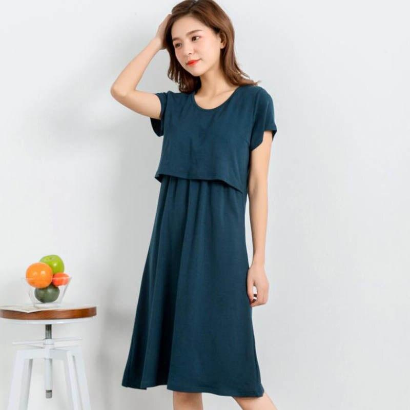 Solid Pregnancy Short Sleeve Feeding Dresses Nursing Clothes For Pregnant Women Modal Dress Pregnancy Breastfeeding Gravidas