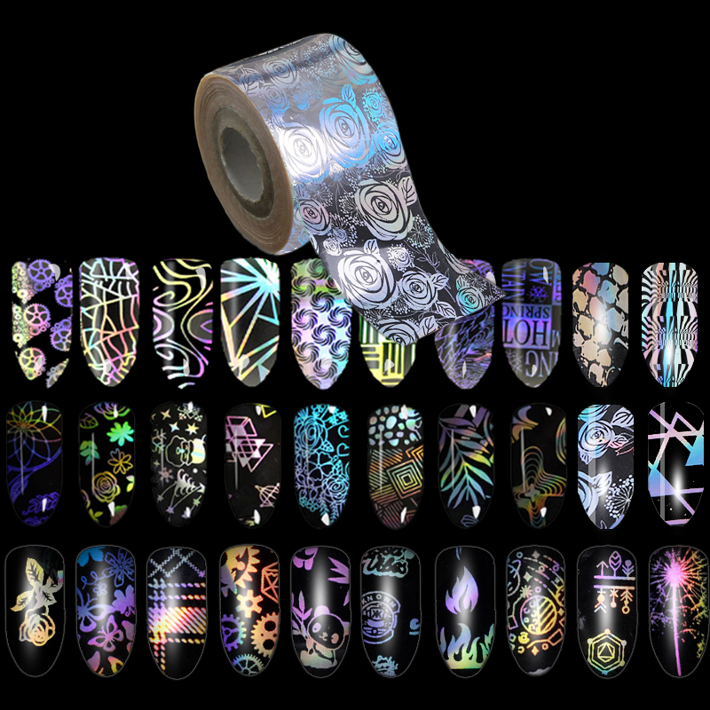 500m*4cm/Roll Symphony Laser Nail Foils Holographic Series Flower Holo Starry Transfer Nail Sticker Manicure Nail Decorations holographic manicure nail art foils diy glitter holo transfer nail foil roll women nail sticker decorations 120m 4cm wy299