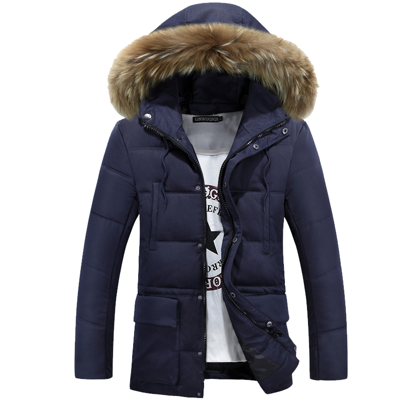 2017 New Winter Men's Cotton In The Long Section Of Thicker Jacket Korean Youth Slim Cotton Jacket Tide sky blue cloud removable hat in the long section of cotton clothing 2017 winter new woman