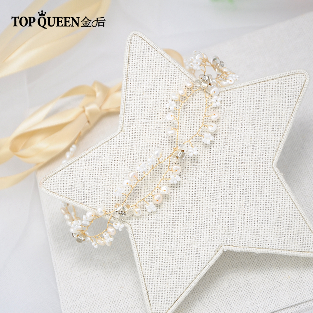 TOPQUEEN HP115 Bridal Gold Headbands for Wedding Party Pears and Rhinestones Beaded Hairwear Accessories Fashion Hair Jewelry