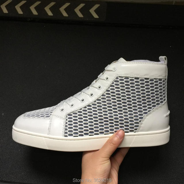 37f8faa6d369 clandgz high heel shoes Whire Honeycomb leather Lace-up Rivets Fashion  Party Red bottom Sneakers leather casual shoes 2018 Male