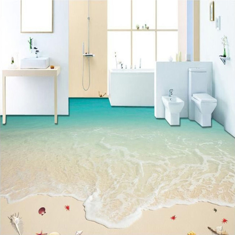 Custom 3D Floor Wallpaper Self-adhesive Waterproof Floor Mural Beach Waves Bedroom Non-slip Wall Paper Home Decor Floor Stickers custom floor wallpaper beach shells and starfish bathroom floor mural paintings self adhesive waterproof wall papers home decor