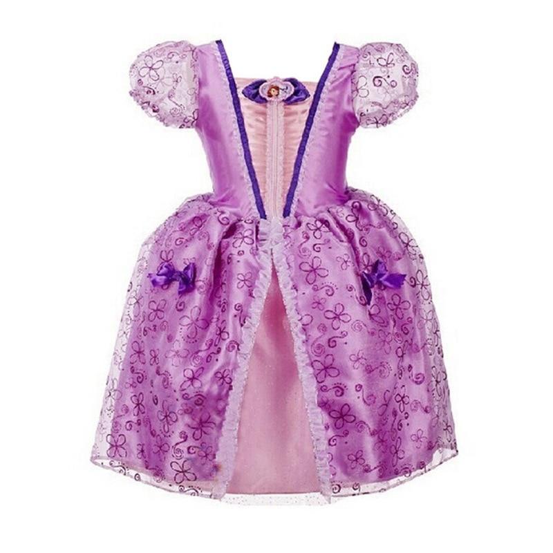 Girl Dress 2015 New Girls Cartoon Cinderella Dress Retail Children Summer Party Dresses Kids Fashion Purple