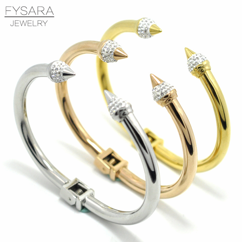 FYSARA Conical Arrows Cubic Zirconia Crystals Bracelets & Bangles Women Jewelry Brand Love Cuff Nail Bangles Armband Pulseiras