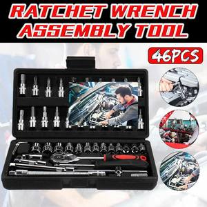 Screwdriver Wrench Combination-Tool-Set Spanner Ratchet Car-Repair-Tool Pawl-Socket 46pcs