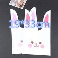 50pcs Big Rabbit Ear Cookie Cake Bag Plastic Packaging Biscuit Candy Gift Bags Cute Cartoon Wedding