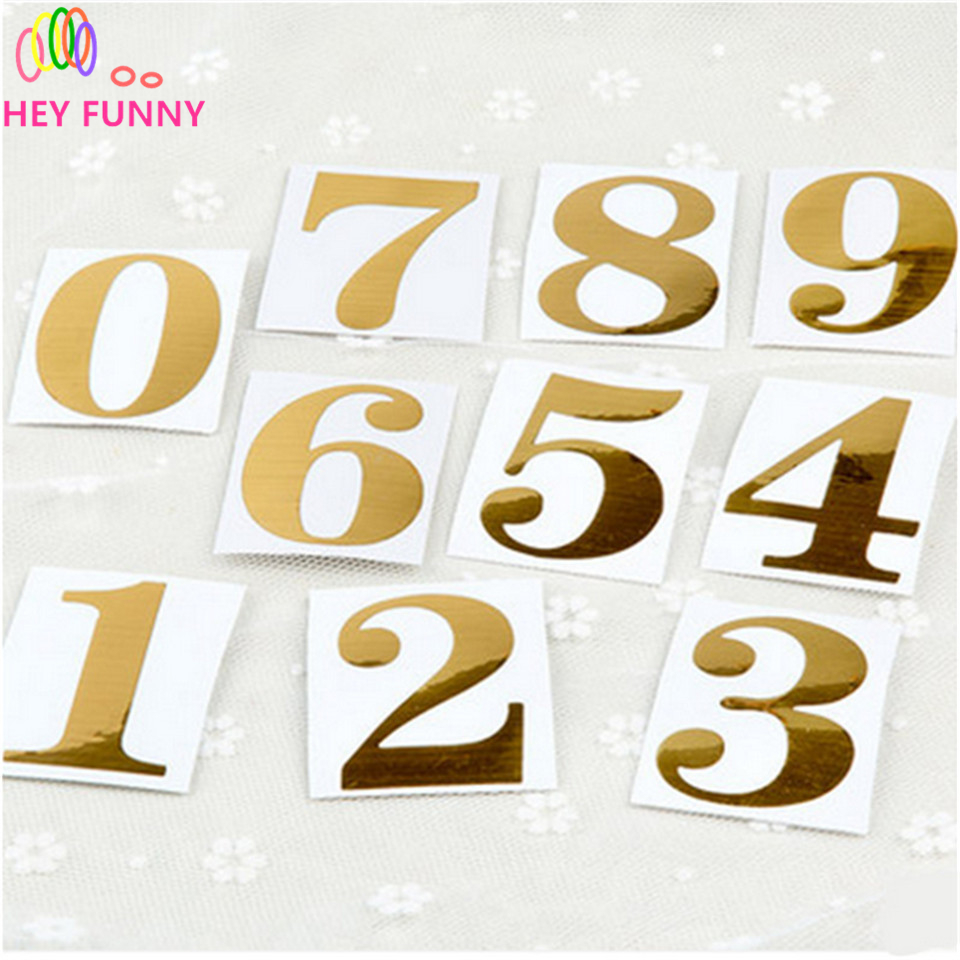 5pcs New Gold Number Stickers For Tables/Seats Card Guiding Place Wedding Table Centerpieces Party Supply Decorative Accessor