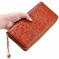 Fashion Rose Embossing Women Wallets Cow Genuine Leather Purse Casual Long Zipper Handbag For Lady With