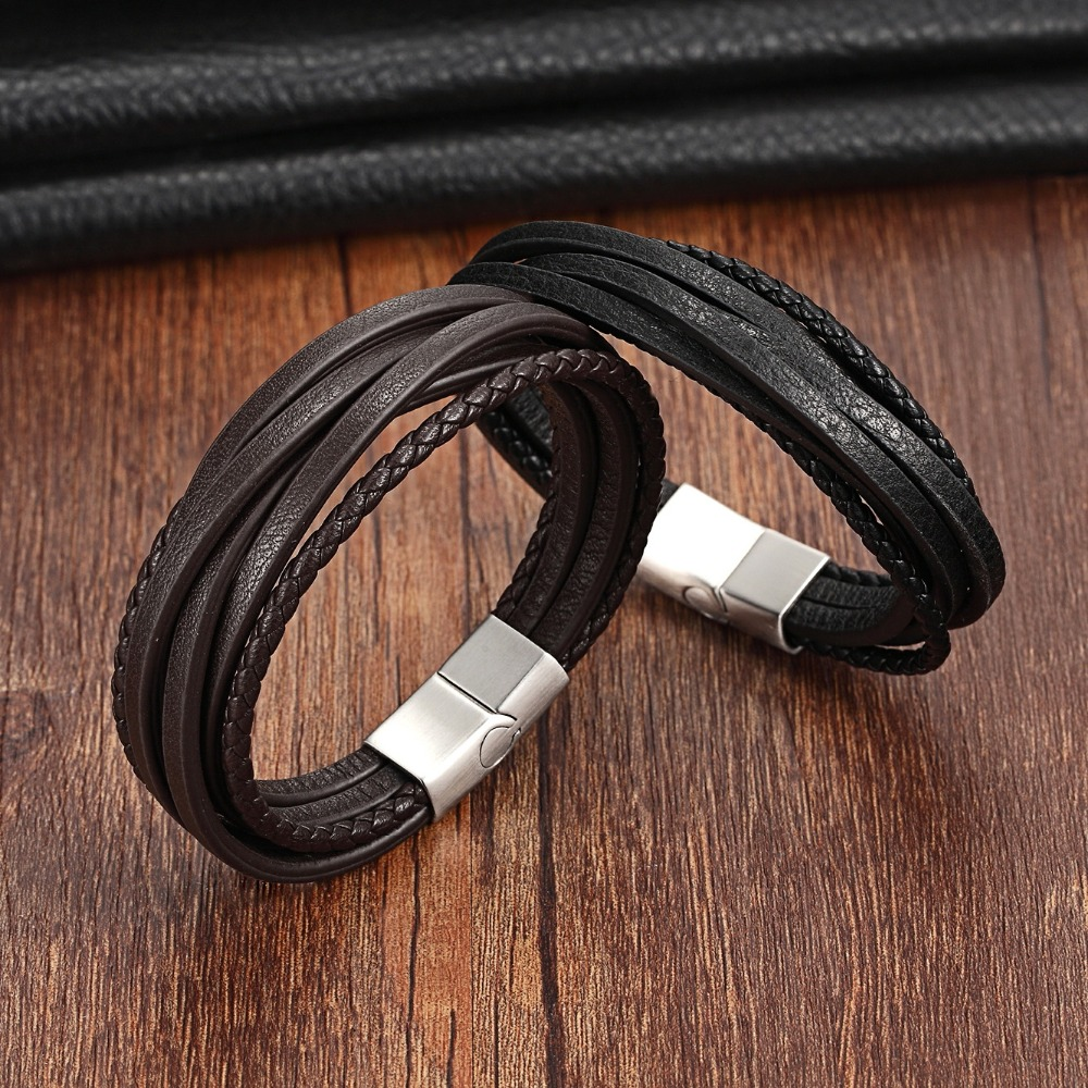 XQNI Multi-Layer of Genuine Leather Bracelet For Male Magnetic Clasp Black/Brown Color Braided Bracelet&Bangle For Birthday Gift