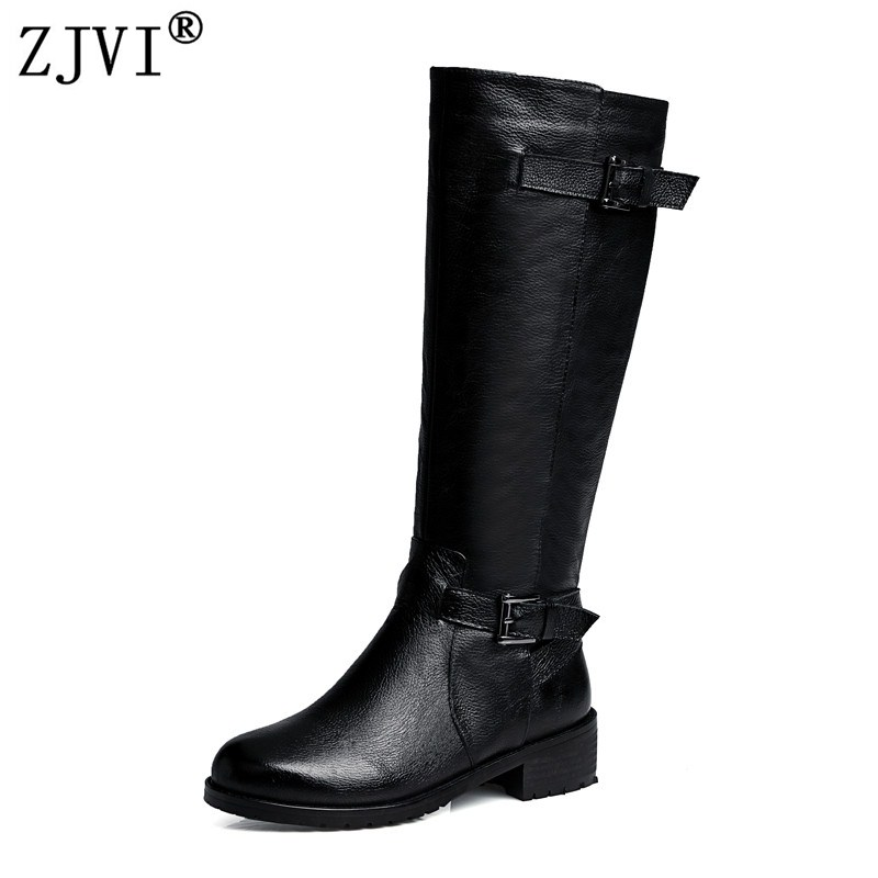 ZJVI women fashion thigh high boots woman buckle winter knee high boots 2018 womens genuine leather boots low heels black shoes цена