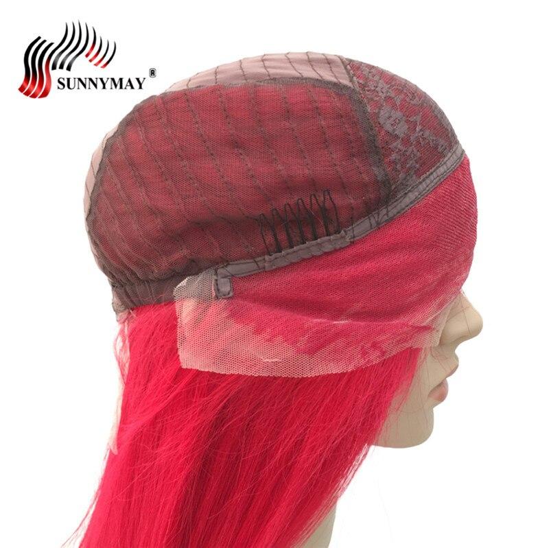 Sunnymay Lace Front Mänskliga Hår Parycken Röd Färg Brasiliansk - Mänskligt hår (svart) - Foto 6