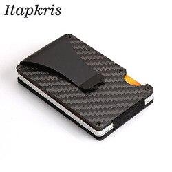Titular do cartão de crédito anti proteger bloqueio rfid carteira portátil id titular do cartão clip porte carte viagem metal caso