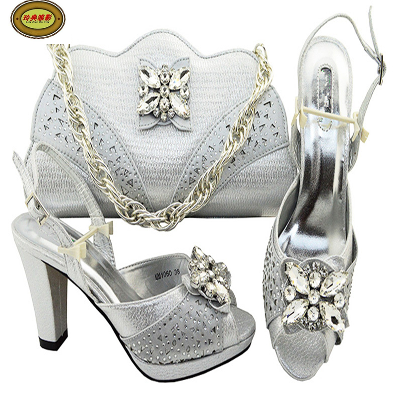 MM1060 Silver 2018 Fashion Rhinestone Bridal Wedding Evening Shoes And Bag Set High Class Adult Woman High Heels Matching Bag spikes heels and blue silver muliti colors mixed rhinestone ultra high heels wedding evening shoes with strap ankle