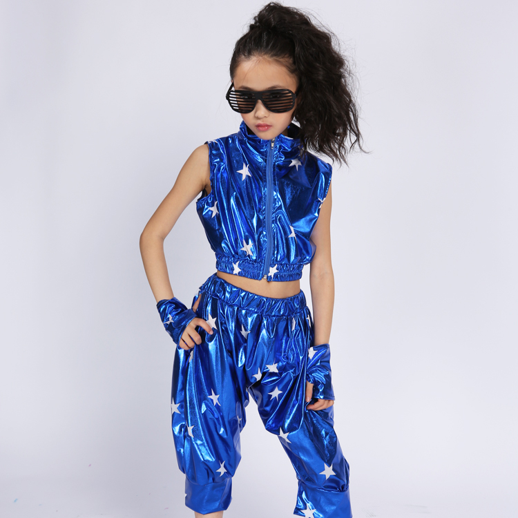 Modern Hip Hop Jazz Dance Suit For Children  Performance Dance Wear Competitions Performance Stage Clothing