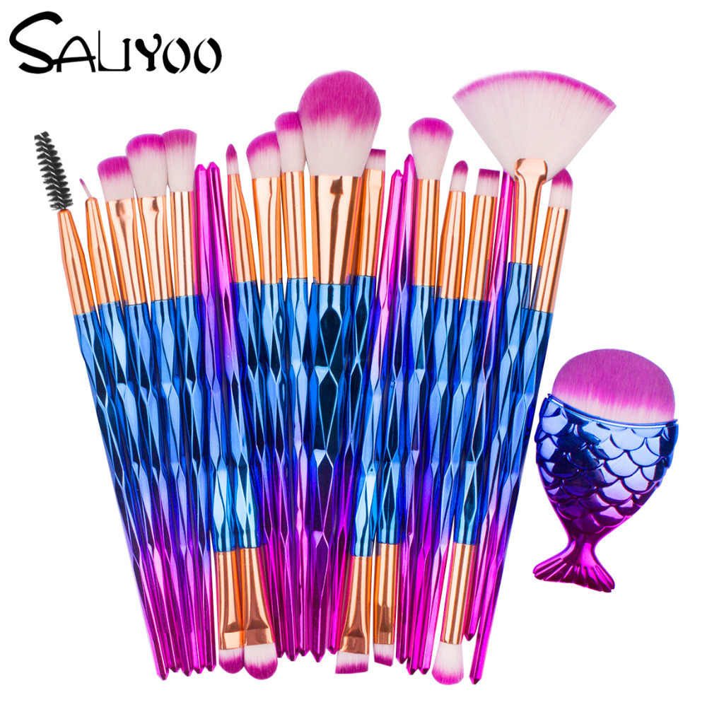 SALIYOO 21pcs Fish Tail Diamond Mermaid Makeup Brushes Set Foundation Powder Eyeshadow Contour Blending Face Cosmetic Brush Tool