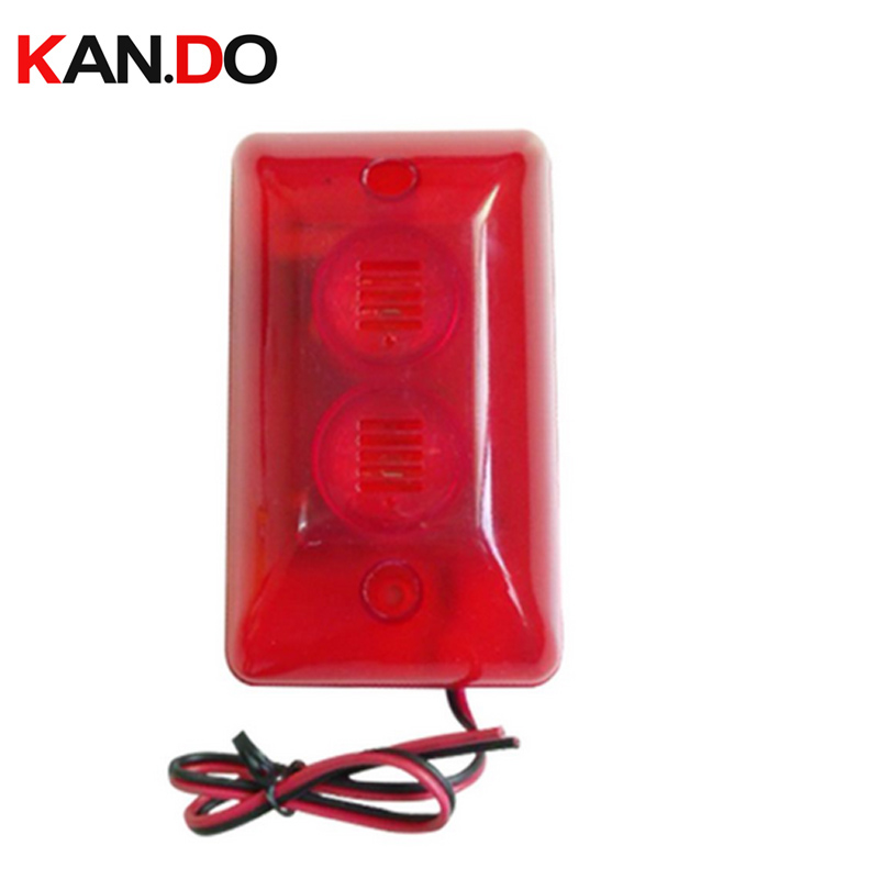 102 Wired Indoor Siren security Mini Siren w/ Red Flash Light for House Alarm System Strobe Light and Siren ALARM Speaker 110db
