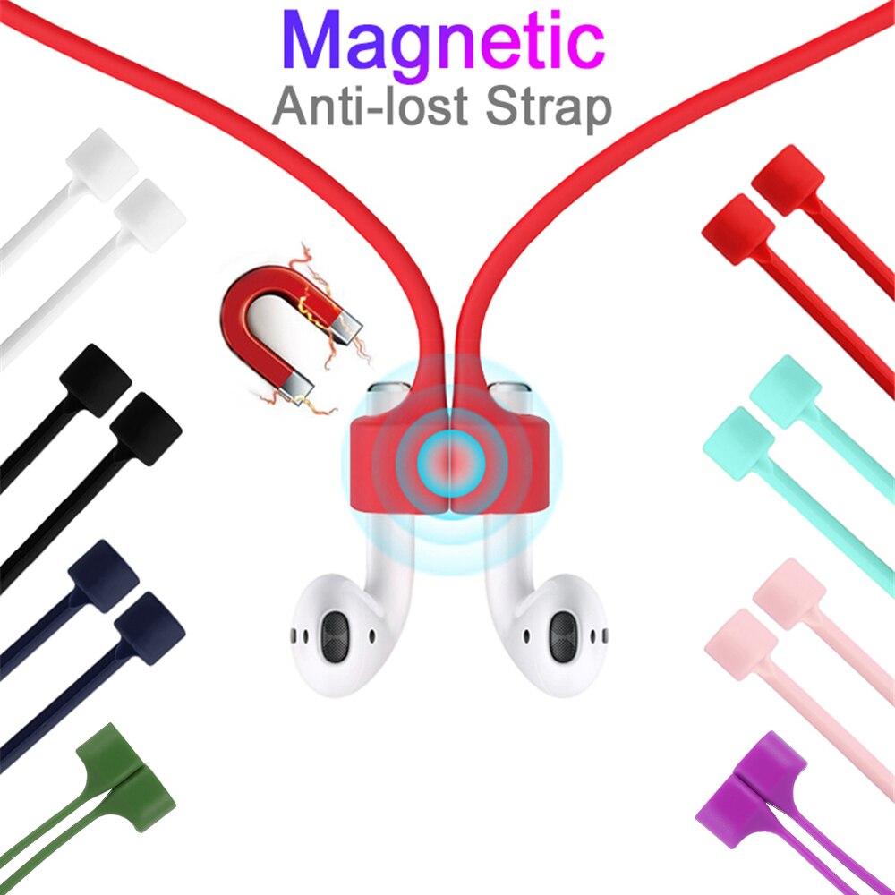 Tüketici Elektroniği'ten Kulaklık Aksesuarları'de Manyetik kulaklık Airpods için TWS Anti kayıp kayış manyetik dize halat Bluetooth kulaklık silikon kablo kordonu title=